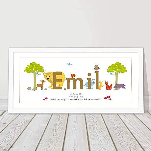 Namensbild, Taufgeschenk personalisiert, Geschenk Geburt Junge Mädchen, Babygeschenk, Kinderzimmerbild,1.Geburtstag, Patenkind
