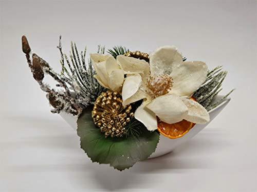 Adventsgesteck Nr.71 creme Schale mit geeister Magnolie und Winterdeko Weihnachtsgesteck, Wintergesteck, Advent Adventskranz