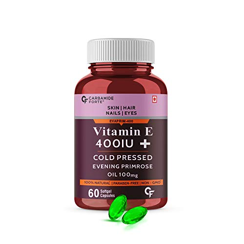 CF Vitamin E 400 IU Capsules for Face and Hair with Evening Primrose Oil - 60 Capsules