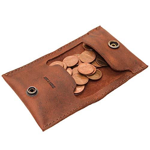 Hide & Drink, Leder-Münztasche, Geldfach, Organizer, Geldbörse, Zubehör, handgefertigt, inkl. 101 Jahre Garantie: Bourbon Brown