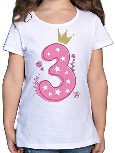 Geburtstag Kind - 3. Geburtstag Mädchen Krone Sterne - 104 (3/4 Jahre) - Weiß - Geburtstags Tshirt 3 Jahre mädchen - F131K - Mädchen Kinder T-Shirt