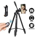 Geekoto Dreibein-Stative, Mit Handy-Halterung und Bluetooth-Fernbedienung, für Fotografie und Alle Mobiltelefone Nur Leichte Mobile Stative