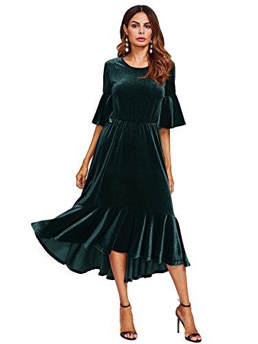 Floerns Women's Trumpet Sleeve Flounce Ruffle Hem Velvet Midi Dress Green M