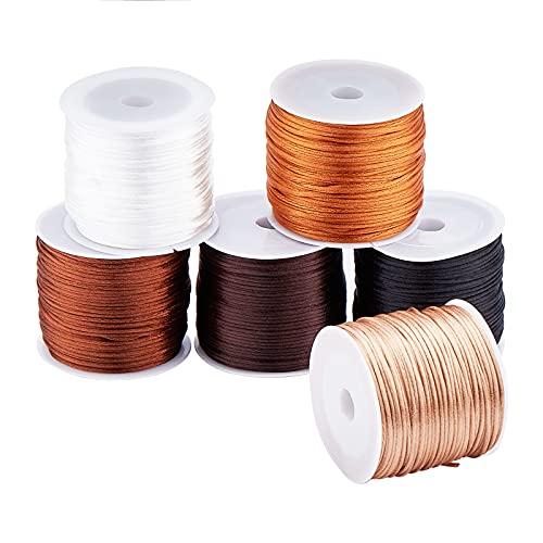 PandaHall Cordón de satén de 192 yardas de 6 colores, cordón de seda de 1 mm de nailon para nudo chino, macramé, abalorios, pulsera de la amistad para hacer joyas