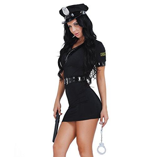 Tiaobug Damen Sexy Polizei Polizistin Uniform Kostüm Uniform 5 PCS mit Gürtel Handschelle Schlagstock und Hut Mütze für Mottoparty Halloween Karneval Fasching