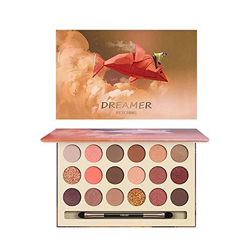 HIROCK 18 Farben Lidschatten-Palette, wasserfeste Kosmetik, Matte Shimmer Lidschatten-Palette, Augen Make-up, mit Lidschattenpinsel (01)