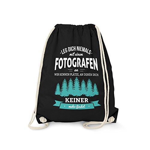 Fashionalarm Turnbeutel - Leg Dich Niemals mit einem Fotografen an | Fun Rucksack als Geschenk Idee für Job Arbeit Beruf, Farbe:schwarz