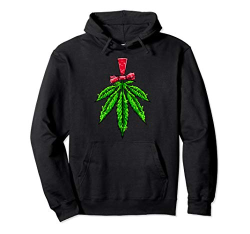 Christmas Kush Leaf Decor Funny 420 Weed Haze Pothead Gift Pullover Hoodie