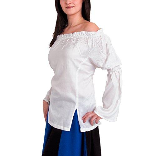 Vêtement Moyen Age - Blouse Médiévale Alexandria - Blanc - L/XL