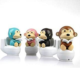 Set of 4 ~ Mstechcorp Solar Monkey Kids Plastic Toys Bobble Head Suncatcher For Cars, Novelty, Birthday Gifts
