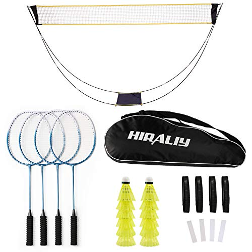 HIRALIY Complete Badminton Set Badminton Rackets Set of 4 for Outdoor Backyard Games Includes 1 Portable Badminton Net 4 Rackets 12 Plastic Shuttlecocks 4 Replacement Grip Tapes and 1 Carry Bag