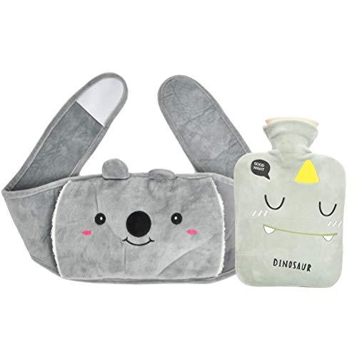 TIMESETL Wärmeflasche mit Bezug, Gummi Wärmflasche mit Weichem Plüschbezug, Warmwasserbeutel Warm Hot Water Bottle zur Schmerzlinderung für Bauch Rücken Beine