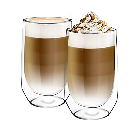 [6-Pack,450ml/15 onces]DESIGN•MASTER-Première qualité - Verre isolant à double paroi, Tasse à café ou à thé, Verre thermo-isolant, Parfait pour le café au lait, Cappuccino, Americano.