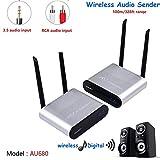 MEASY AU680 Transmetteur Audio numérique sans Fil - émetteur et récepteur 100m/330ft- Adaptateur pour système Home Cinéma HiFi Amplificateur,Couleur Argent