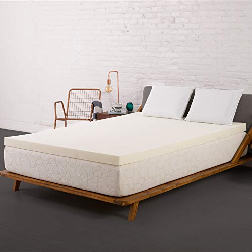 SleepJoy 3' ViscO2 Ventilated Memory Foam Mattress Topper, Queen, White