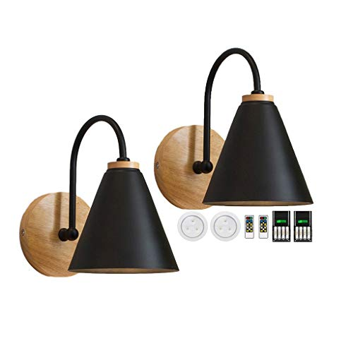 civaza 2-Pack Wall Light Bedside Lamp,Led Remote Control Battery Operated Indoor Wireless Black Wall Sconce Light Fixture for Bedroom Bathroom Loft Wall Decor- (Includes Battery Charger) A-9