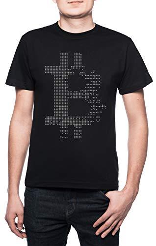 Erido Bitcoin Criptovaluta Criptovaluta Uomo Girocollo T-Shirt Nero Maniche...