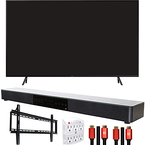 Samsung QN65Q60RAFXZA 65 inch Q60 QLED Smart 4K UHD TV 2019 Model Bundle with Home Theater Surround Sound 31 inch Soundbar, 6-Outlet Surge Adapter, Flat Wall Mount Kit and 2X HDMI Cable