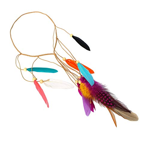 Justfox Gevlochten haarband met bonte veren