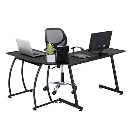 YAHEETECH L-Shape Corner Computer Desk Gaming Corner Desk, Wood Writing Studying Table with Round Corner, Large PC Laptop Workstation, 3-Piece Modern Desk, Black Home Office Furniture