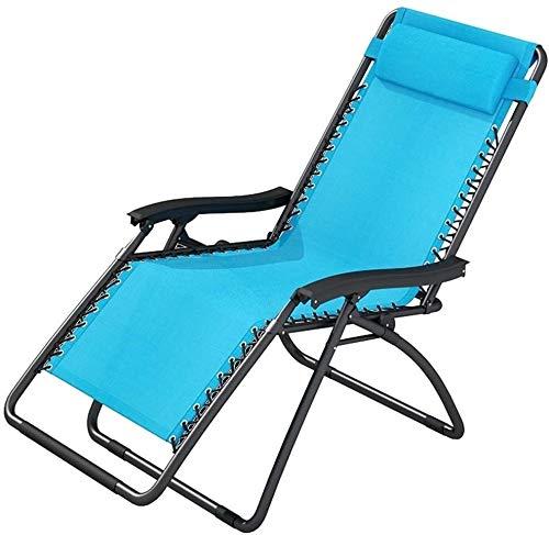 Lhak Sillón reclinable al Aire Libre Jardín sillón, cojín de Gran tamaño XL reclinable Ajustable, con el Apoyo del reposacabezas (Color : Blue1)