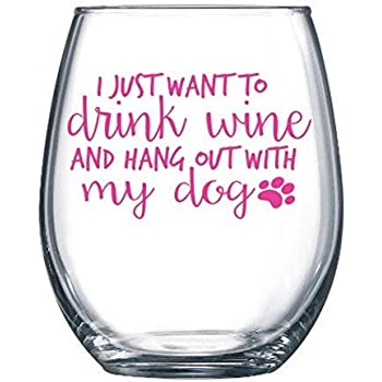 Stemless Wine Tumbler I Just Want To Drink Wine And Pet My Dog