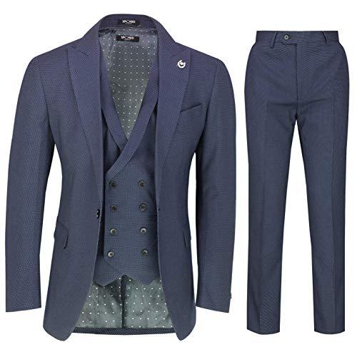 Xposed Herren 3 Stück Marineblau Pindot Anzug Retro Elegante Tailored Fit Blazer Weste Hosen[SUIT-DRV8902-3-BLUE-38]
