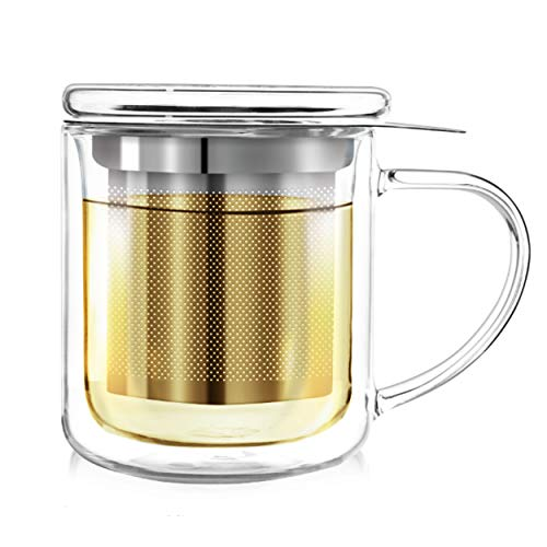 Teabloom Single-Serve Tea Maker (8 oz /240 ml) - Double Wall Lead-Free Glass Cup with Infuser Basket and Lid for Steeping, Solista Brewing Mug