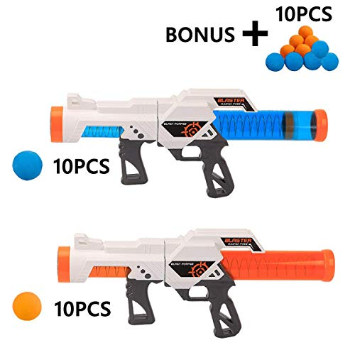 FUNEW 2 Pack Power Popper Gun, Blue&Orange Foam Balls Dual Battle Pack, Air Powered Shooter Toy for Kids Role Playing Toy for Indoor and Outdoor