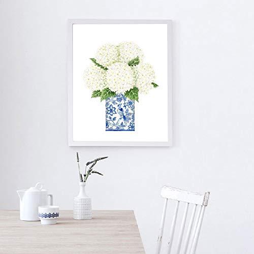 Blauwe en wit porselein orchidee hortensia bedrukt in Chinese stijl canvas kunst galerie muurkunst afbeelding poster muur decoratie mode zonder frame
