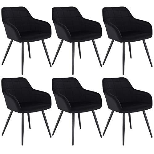 WOLTU 6 x Esszimmerstühle 6er Set Esszimmerstuhl Küchenstuhl Polsterstuhl Design Stuhl mit Armlehne, mit Sitzfläche aus Samt, Gestell aus Metall, Schwarz, BH93sz-6