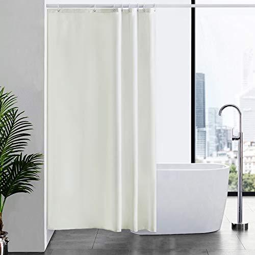 Furlinic Duschvorhang Textil Anti-schimmel Wasserdicht Waschbar Badvorhang aus Polyester Stoff Beige 120x200cm mit 8 Duschvorhangringen.