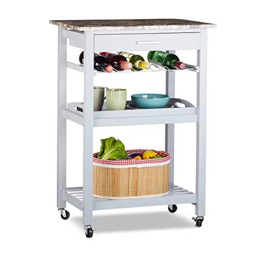 Relaxdays, grijs keukentrolley met dienblad, lade, flessenhouder, plank, steen-look, grenenhout, HxBxD: 85x60x40cm, standaard