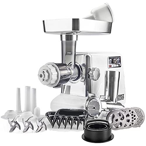 STX Turboforce 3000 Heavy Duty 6-In-1 Powerful Size #12 Electric Meat Grinder • Cold Press Juicer • Sausage Stuffer • Kubbe Maker • Burger/Slider Maker • Meat Claws • 3 S/S Blades • 4 Grinding Plates