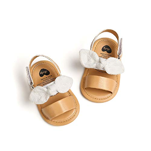 Babyschuhe für 0-18 Monate Auxma Baby Mädchen weiche Sohle Sandalen Kleinkind rutschfeste Kleid Hochzeit Krippe Schuhe Geschenk zur Taufe (6-12 Monate, Weiß)