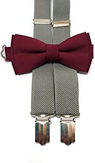 BURGUNDY+BLUSH cotton bow tie and CHARCOAL GRAY suspenders for groomsmen for groom outfit for ring bearers men