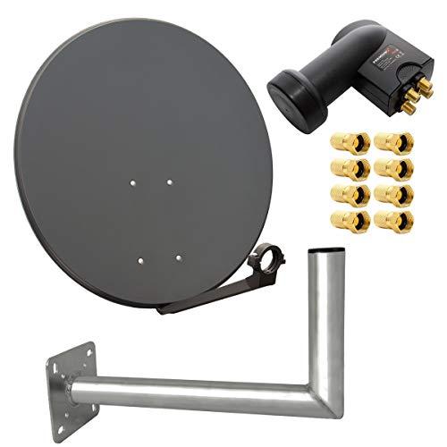 PremiumX digital SAT Anlage 80 cm Stahl Schüssel Spiegel Antenne Anthrazit Quad LNB 0,1dB für 4 Teilnehmer Wandhalter 45cm ALU F-Stecker