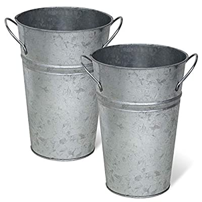 Rustic Tin Flower Vases, French Bucket, Farmhouse Style - 8 Inches - Set of 2