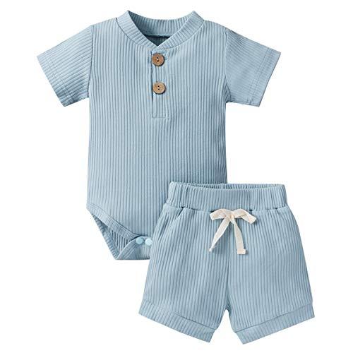 Geagodelia Conjunto de ropa para bebé, niño, niña, de manga corta, body y pantalones cortos, para recién nacidos, suave, monocolor, T-52508