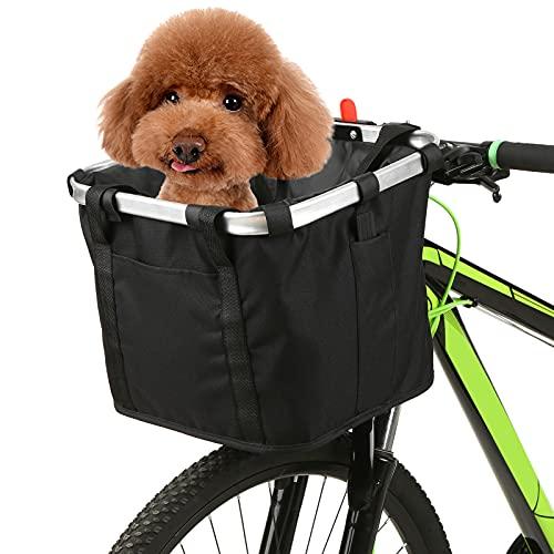 LIXADA - Cesta para manubrio de Bicicleta, Plegable, extraíble, para Mascotas,...