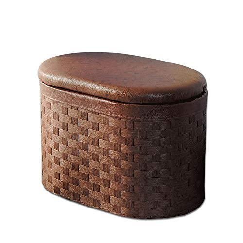 Jia Xing Storage Stool, Household Simple Woven Storage Storage Stool Storage Box Low Stool Door Change Shoe Stool (2 Sizes) Storage Bench for Bedroom (Size : B)