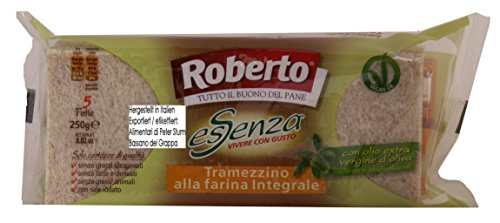 Roberto esSenza Tramezzino alla farina Integrale 5 x 250g = 1250 Vollkornweizenbrotscheiben mit extra natives Olivenöl Vegan