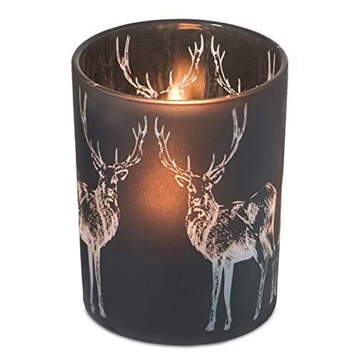 EDZARD Teelichthalter Windlicht Glas für Teelichter Hirsch, schwarzes Glas, Höhe 13 cm, ø 10 cm