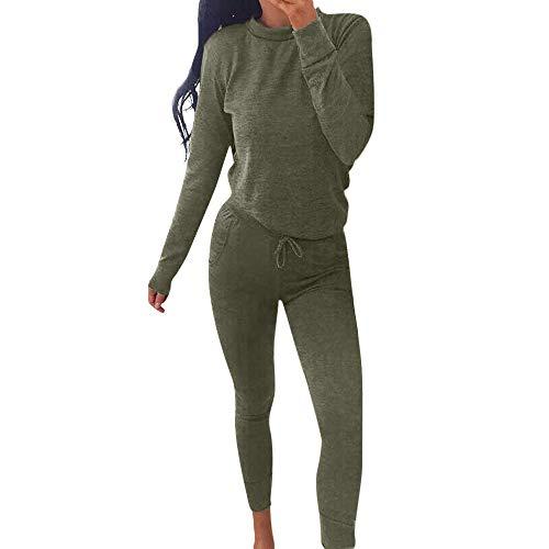 Millenniums Costume Sportif Couleur Unie Survêtement Sweat-Shirt + Pantalon Ensemble 2PCS Sport Sportswear pour Yoga et Gymnastique Jogging Suit À Manches Longues (Vert, M,36)