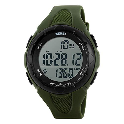 TOPCABIN Männer und Frauen wasserdichte elektronische Multifunktions-Schritt Zähler Outdoor Sport Schwimmen Studenten Schrittzähler Mode Uhren (Armee grün)