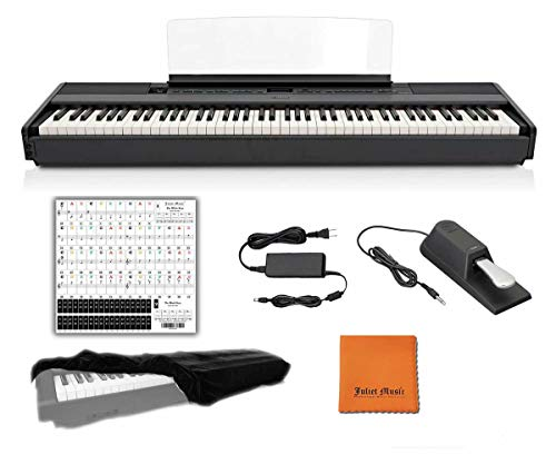 Yamaha Keyboard P45 Black 88 Weighted Keys Digital Piano Bundle with Juliet Music Piano Dust Cover, Polish Cloth and Piano Key Sticker (P45B) (P45B)
