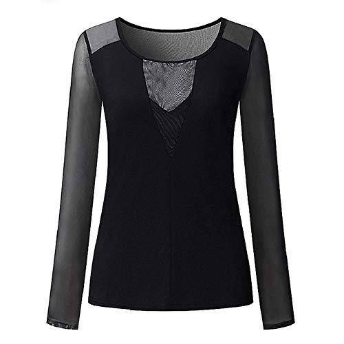 iMixCity Donna Maglie a Manica Lunga Sexy Transparente Blusa Elegante (Nero, XXXXX-Large)