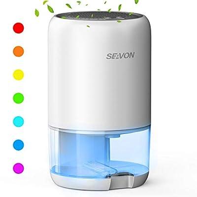 SEAVON Dehumidifiers 35oz(1000ml) Dehumidifier for Home 2600 Cubic Feet (280 sq ft) with 7 Color LED Lights, Portable Dehumidifiers, Basements, RV, Bathroom, Bedroom, Garage, Auto Shut-off by SEAVON