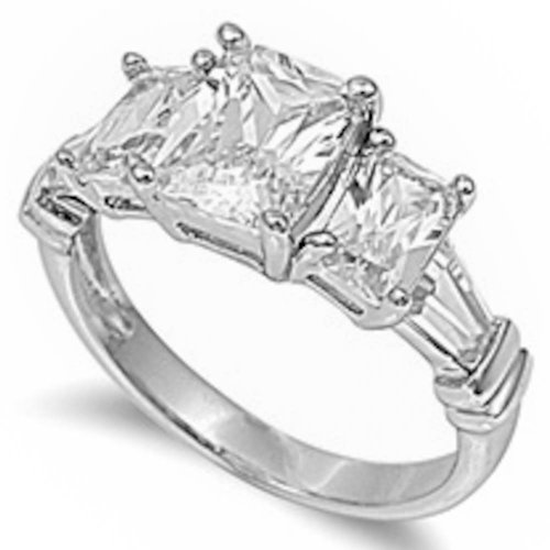 3.5Ct Simulated Emerald Cut White Cz Stone Engagement .925 Sterling Silver Ring Size 8