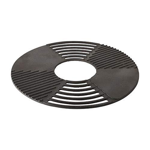 Esschert Design Grillrost/Grillplatte für Feuerschale, aus Gusseisen, Ø 60 x 1,3 cm, mit Rauchrillen und Grill-Fläche
